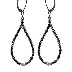Black Diamond Bead Hoop with Grey Diamond Oval Center