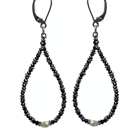 Black Diamond Bead Hoop with Grey Diamond Oval Center