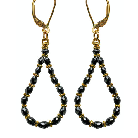 Black Diamond Oval Bead Hoop