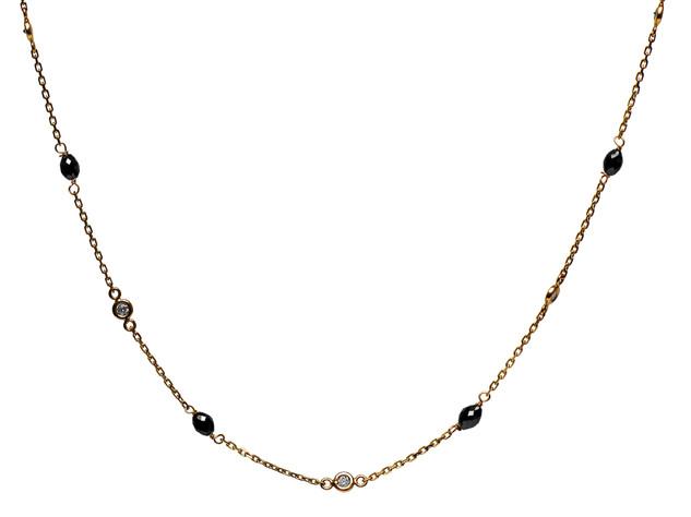 Diamond Bezel & Oval Black Diamond Necklace