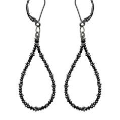 Black Diamond Bead Hoop
