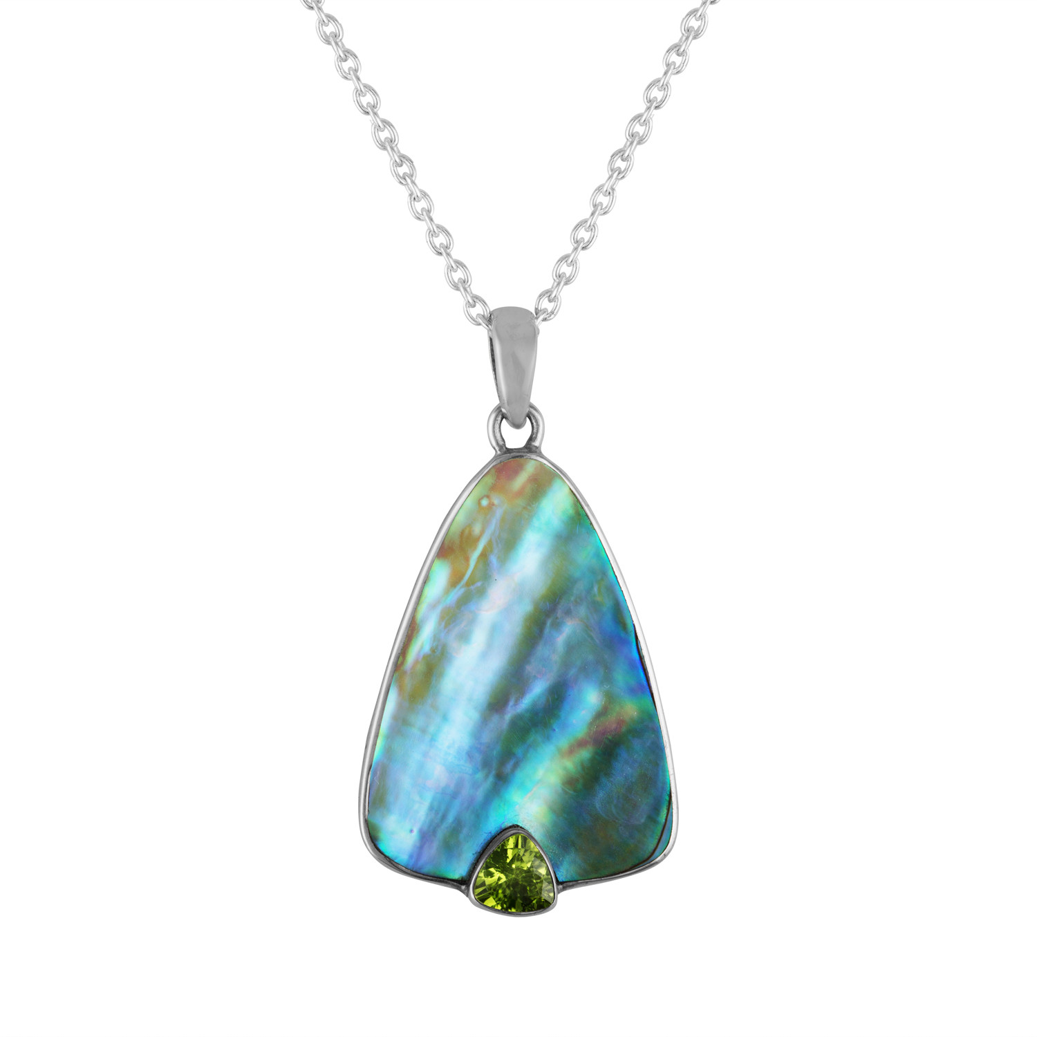 Abalone pendant with Peridot accent in Sterling Silver