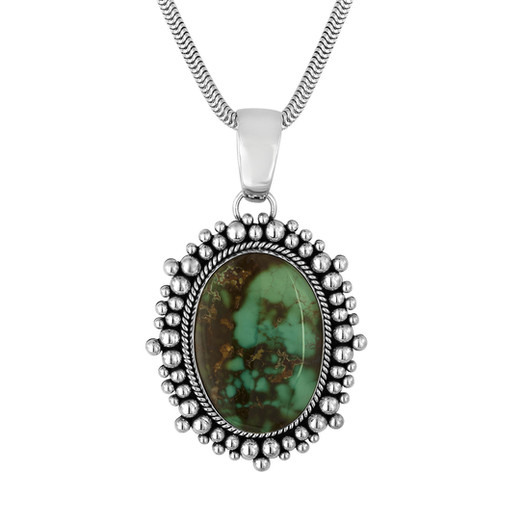 Royston Turquoise pendant set in Sterling Silver by Navajo artist Artie Yellowhorse