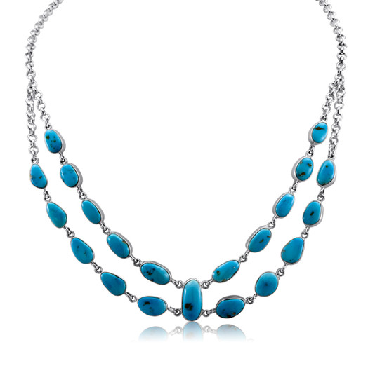 Turquoise layered necklace set in Sterling Silver