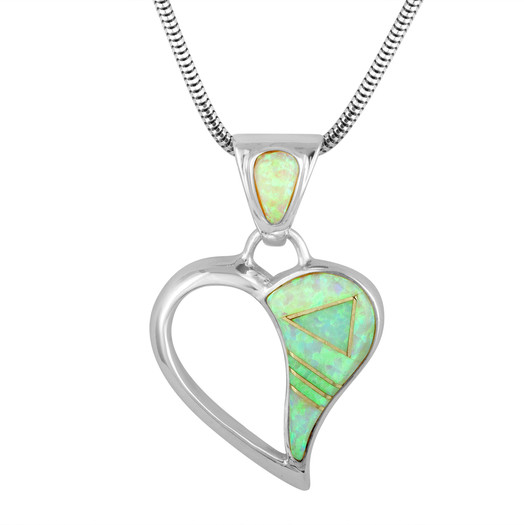 Navajo Lab Opal inlay heart pendant