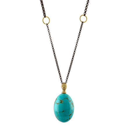Kingman Turquoise cameo pendant in 14k Yellow Gold and oxidized Sterling Silver chain