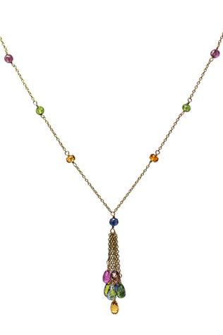 Multi-Color Sapphire Beads & Briolette Y Necklace
