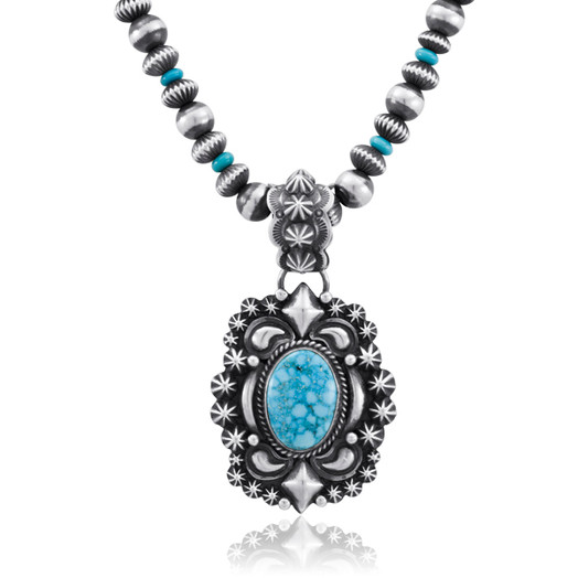 Kingman Turquoise pendant and handmade Sterling Silver beads by Navajo artist Daryl Becenti
