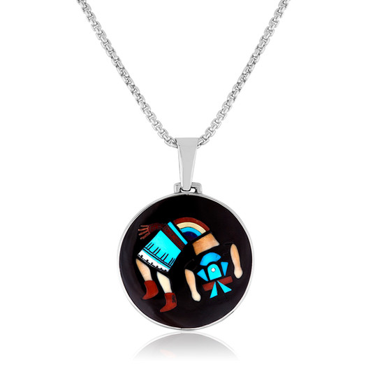 Multi-stone Rainbow God inlay pendant by Zuni artists Harlan and Monica Coonsis