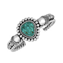Kingman Turquoise and Sterling Silver bracelet by Navajo artist Artie Yellowhorse