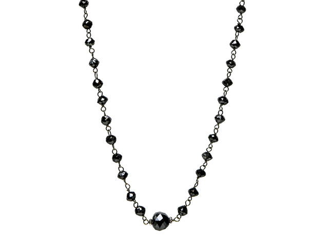 Black Round Diamonds with Larger Center Diamond