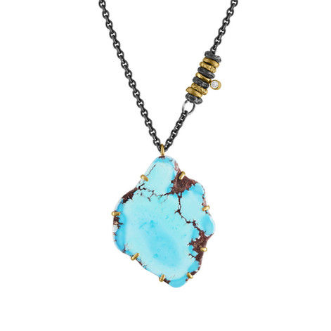 14k Yellow Gold set with asymmetrical Kazakhistani Turquoise with Diamond accents on an oxidized Sterling Silver chain