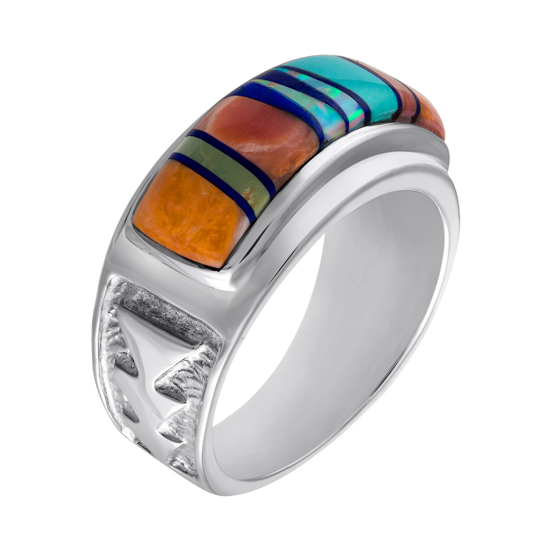 Navajo multi-stone Inlay ring in Sterling Silver  Navajo multi-stone Inlay ring in Sterling Silver