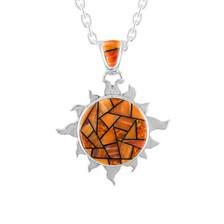 Navajo Spiny Oyster, Jet, Lab Opal sunburst pendant