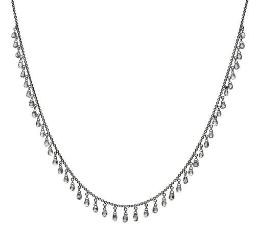 White Diamond Briolette Multi Drop Necklace