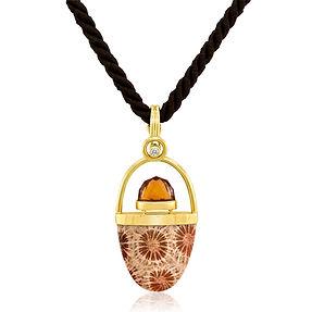 Gold Citrine Stone Diamond Black Cord Ov