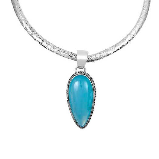 Turquoise Teardrop on a Sterling Silver hammered collar by Navajo artist Artie Yellowhorse
