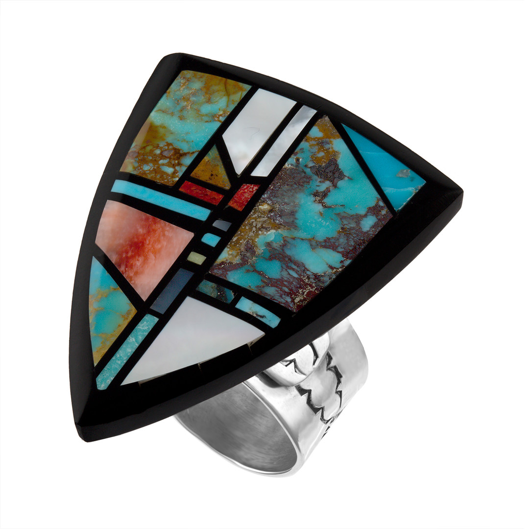 Inlay ring with Coral Cardinal by Zuni artist Albert Banteah Multistone Inlay in Sterling Silver by Santo Domingo artist Chris Nieto Multistone Inlay in Sterling Silver by Santo Domingo artist Chris Nieto