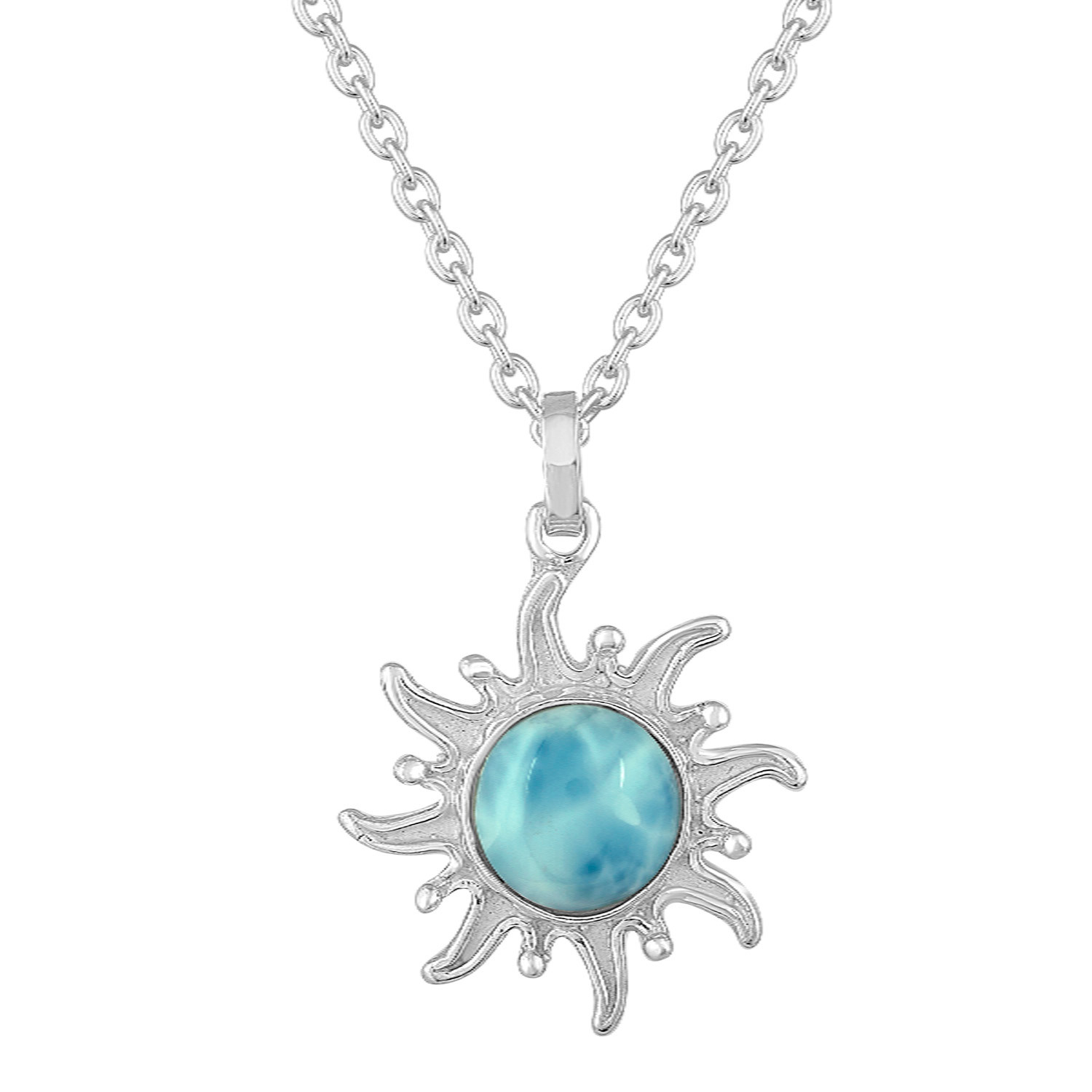 Sterling Silver sunburst with Larimar center