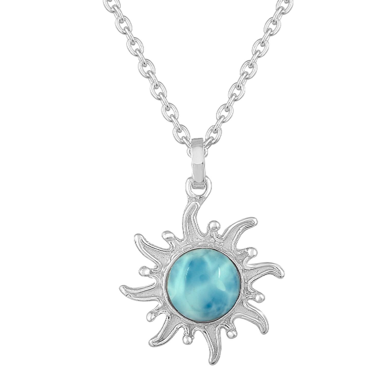 Sterling Silver sunburst with Larimar center