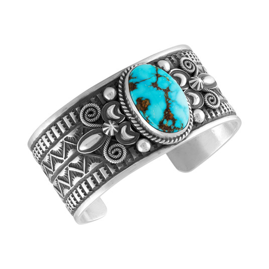 Kingman Turquoise with Sterling Silver by Navajo artist Andy Cadman