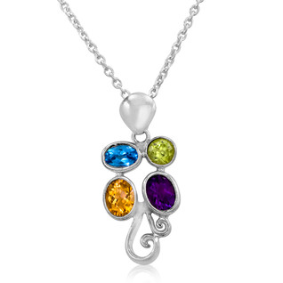 Citrine, Amethyst, Blue Topaz and Peridot necklace set in Sterling Silver