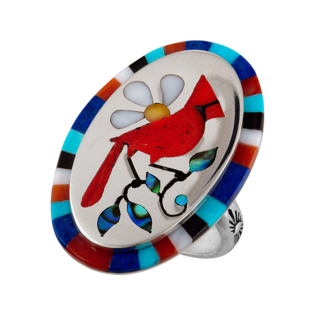 Inlay ring with Coral Cardinal by Zuni artist Albert Banteah