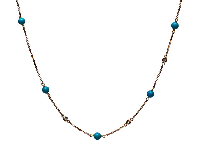Diamond Bezel & Turquoise Necklace
