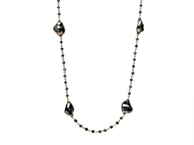 Black Diamonds & Grey Keshi Pearls