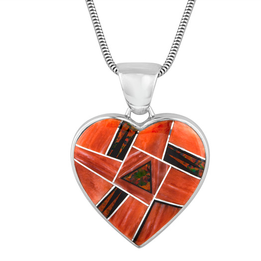 Navajo Spiny Oyster heart with mosaic inlay