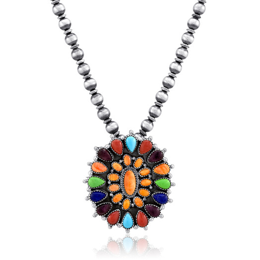 Navajo multistone necklace featuring a Spiny Oyster cluster center surrounded with multicolor Spiny Oyster, Gaspeite and Turquoise