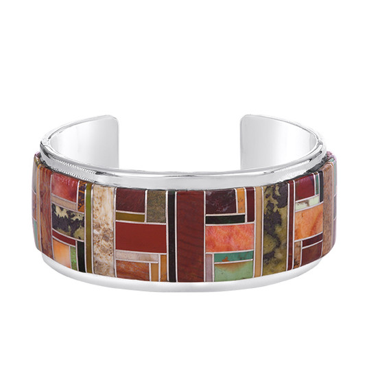 Multistone inlay bracelet in Sterling Silver by Navajo artist Tommy Jackson