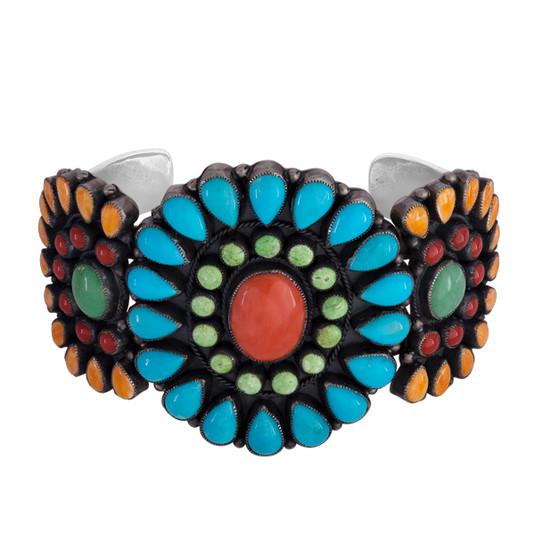 Navajo multi-stone Cabochon cluster bracelet