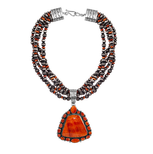 Spiny Oyster necklace with multi-stone Sterling Silver beads with Spiny Oyster accents and handmade end-caps by Navajo artist Guy Hoskie