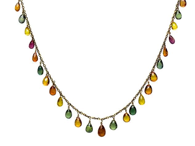 Multi-Color Sapphire Briolette Drop Necklace