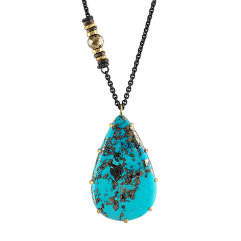 Persian Turquoise with 14k Yellow Gold accents on an oxidized Sterling Silver chain