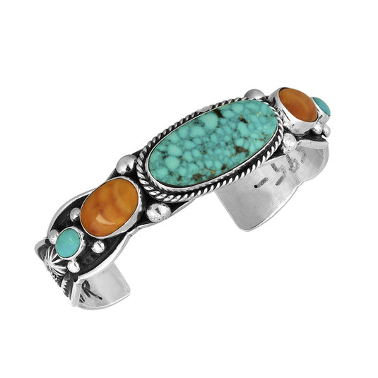 Kingman Turquoise and Spiny Oyster bracelet with Sterling Silver by Navajo artist Albert Jake