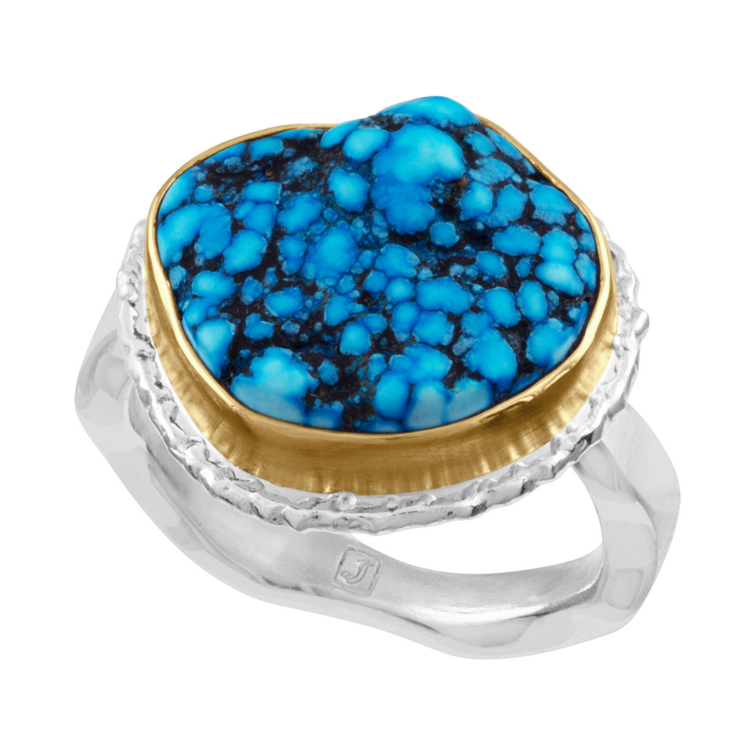 Turquoise ring with 14k Yellow Gold bezel and brushed Sterling Silver shank