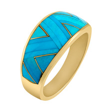 Sleeping Beauty Turquoise Inlay ring with 14k Yellow Gold