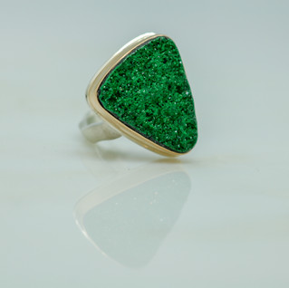 Uvarovite & Gold Ring