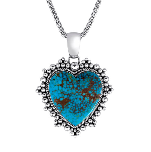 Kingman Turquoise heart pendant set in Sterling Silver by Navajo artist Artie Yellowhorse