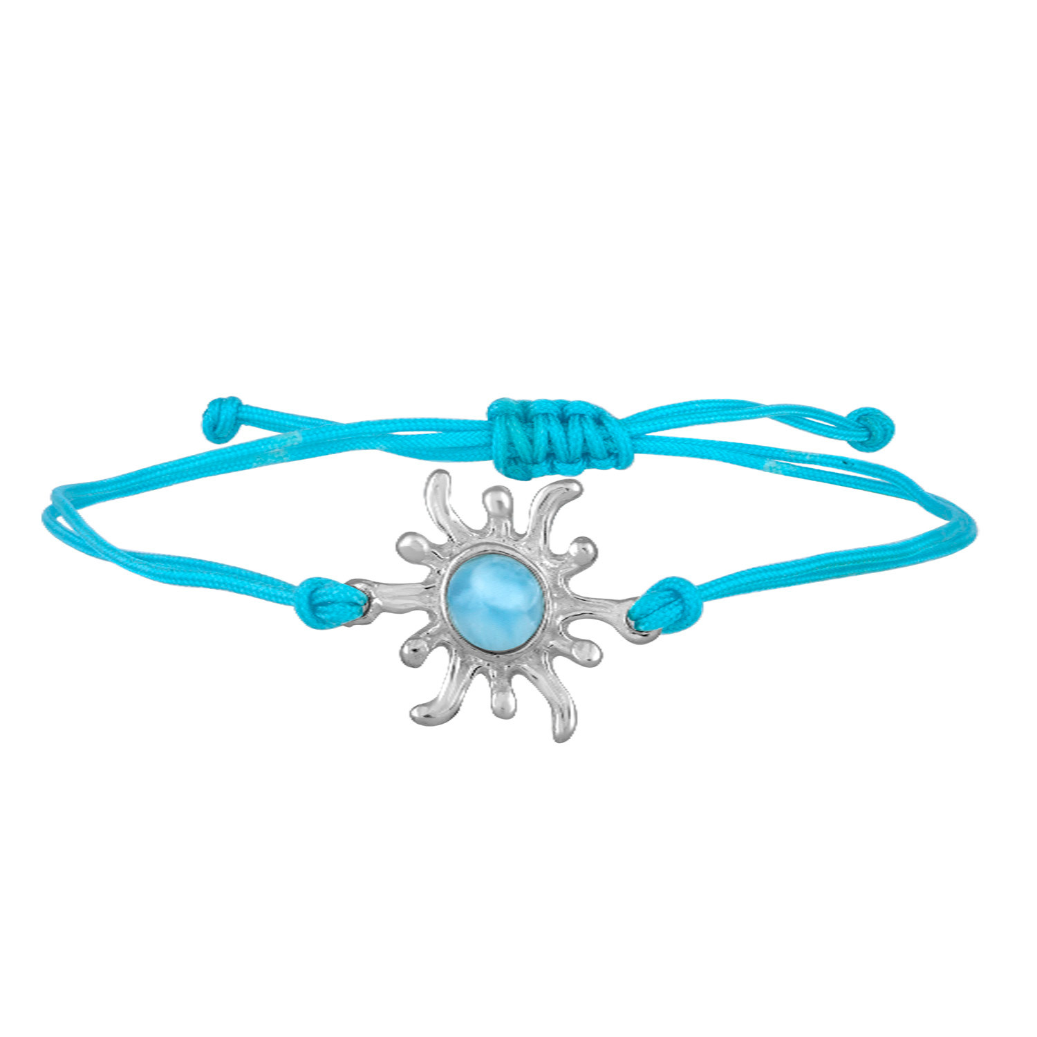Sterling Silver sunburst bracelet with Larimar center