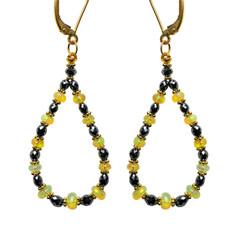 Black Diamonds with Opal Beads Hoop