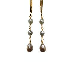 Grey Diamond Oval Beads & Briolette Drop