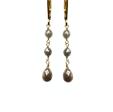 Grey Diamond Oval Beads & Briolette Drop