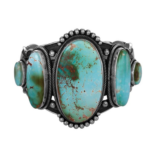 Royston Turquoise and Sterling Silver bracelet by Navajo artist Aaron Toadlena
