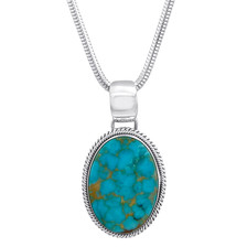 Kingman Turquoise pendant set in Sterling Silver by Navajo artist Artie Yellowhorse