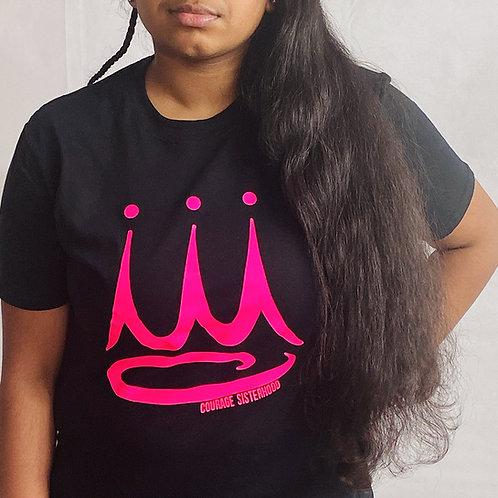 Courage Sisterhood Crown Black T-Shirt