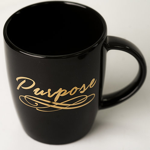 Black Mug with Purpose Print