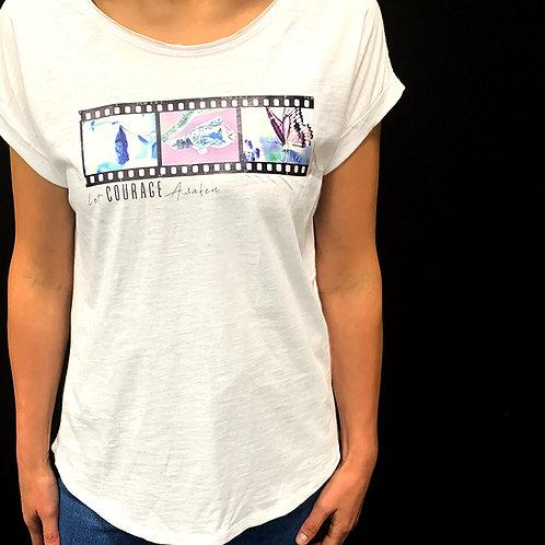 Let Courage Awaken Butterfly Print White T-Shirt